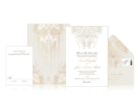 Appy Couple Ceci New York Dripping Lace Invitation Suite