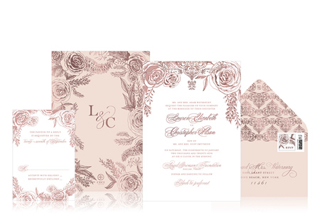 APPY COUPLE | Ceci New York Romantic Rose Wedding Invitation Suite